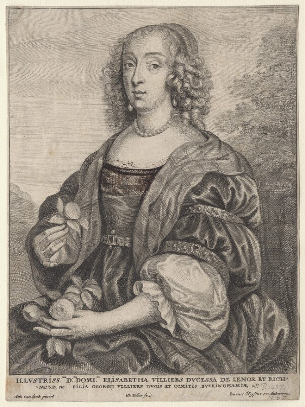 Mary Villiers, Duchess of Richmond and Lennox, by Wenceslaus Hollar, after  Sir Anthony van Dyck, mid 17th century - NPG D9527 - © National Portrait Gallery, London