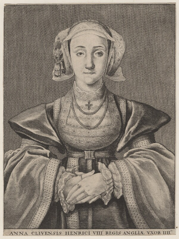 Anne of Cleves, by Wenceslaus Hollar, after  Hans Holbein the Younger, 1648 - NPG D11254 - © National Portrait Gallery, London