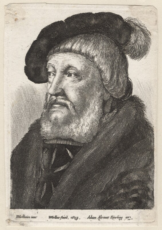 Probably Sir William Butts, by Wenceslaus Hollar, published by  Adam Alexius Bierling, after  Hans Holbein the Younger, 1649 - NPG D7976 - © National Portrait Gallery, London