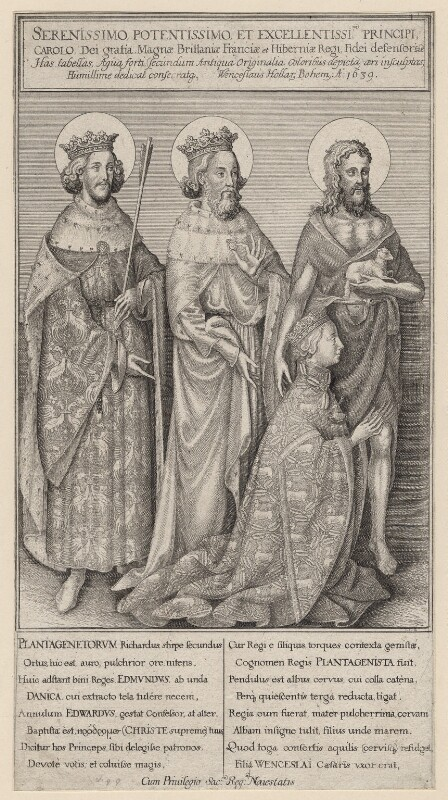 The Wilton Diptych (King Richard II), by Wenceslaus Hollar, after  Unknown artist, 1639 - NPG D17881 - © National Portrait Gallery, London
