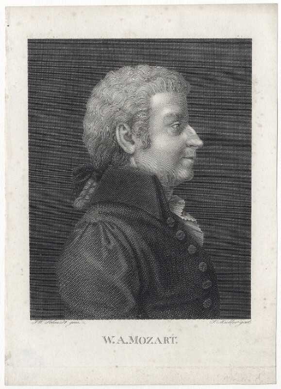 Wolfgang Amadeus Mozart, by Friedrich Theodor Müller, after  Friedrich Wilhelm Schmidt, early 19th century - NPG D13753 - © National Portrait Gallery, London