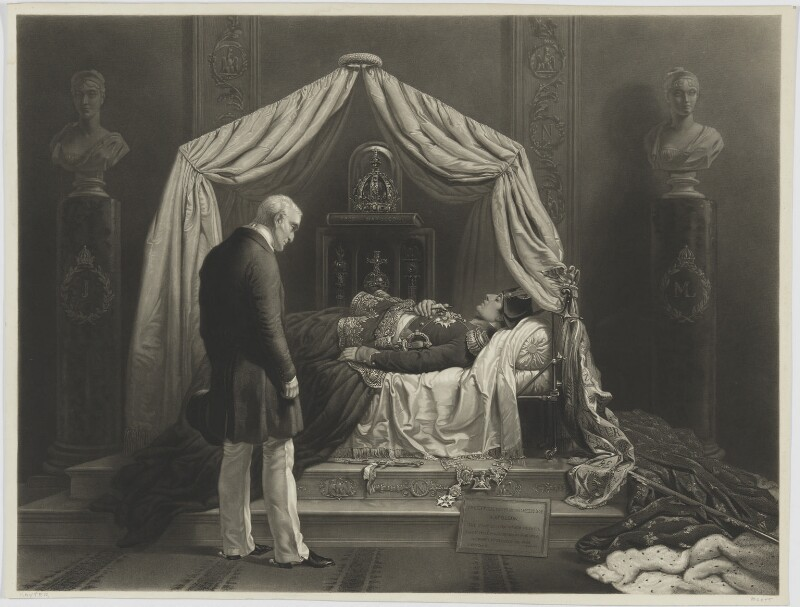The Duke of Wellington visiting the Effigy and Personal Relics of Napoleon (Arthur Wellesley, 1st Duke of Wellington), by James Scott, after  Sir George Hayter, published 1854 - NPG D13760 - © National Portrait Gallery, London