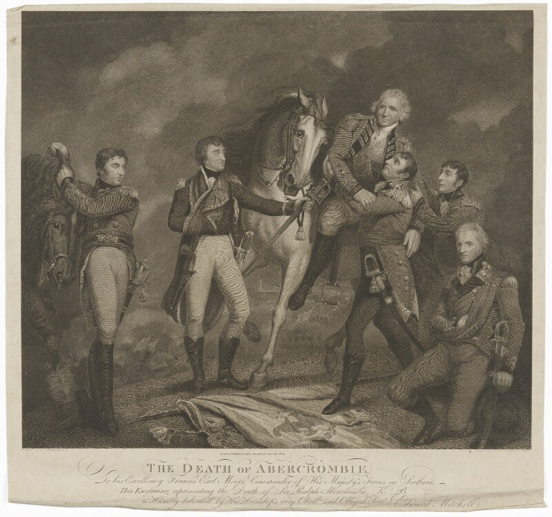 The Death of Abercrombie (Sir Ralph Abercromby and five others), by Edward Mitchell, after  James Northcote, published 1805 (1802) - NPG D13766 - © National Portrait Gallery, London