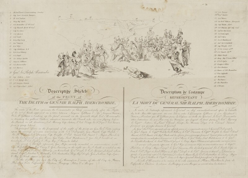 Descriptive Sketch of the Print of the Death of Gen: Sir Ralph Abercrombie, published by John Peter Thompson, after  Sir Robert Ker Porter, published 1804 - NPG D13765 - © National Portrait Gallery, London