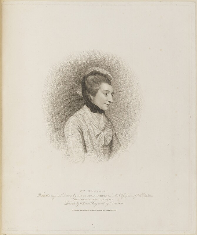 Elizabeth Montagu (née Robinson), by Thomas Cheesman, published by  T. Cadell & W. Davies, after  William Evans, after  Sir Joshua Reynolds, published 26 May 1809 (1775) - NPG D13889 - © National Portrait Gallery, London
