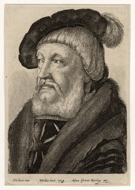 Probably Sir William Butts, by Wenceslaus Hollar, published by  Adam Alexius Bierling, after  Hans Holbein the Younger, 1649 - NPG D17892 - © National Portrait Gallery, London