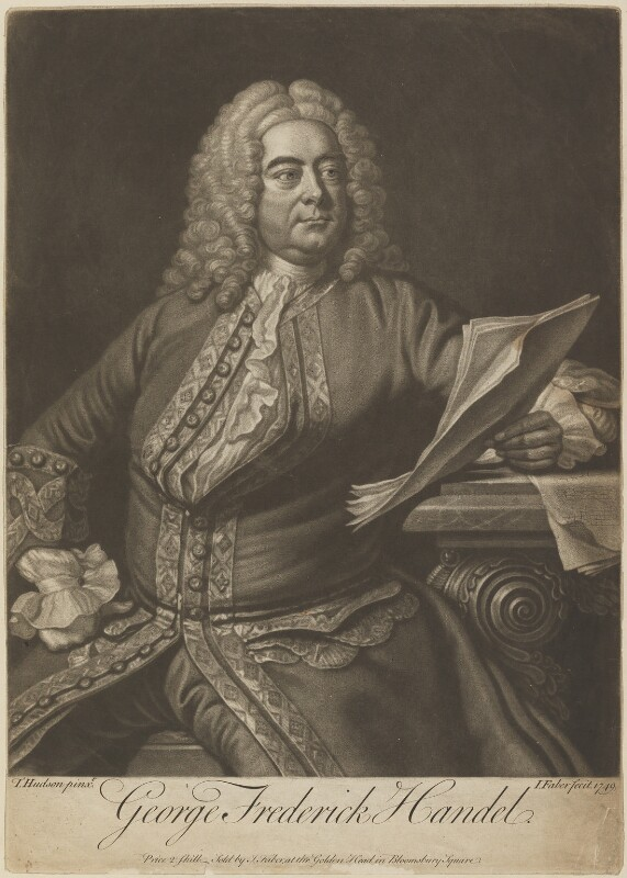 George Frideric Handel, by and sold by John Faber Jr, after  Thomas Hudson, published 1749 - NPG D13865 - © National Portrait Gallery, London