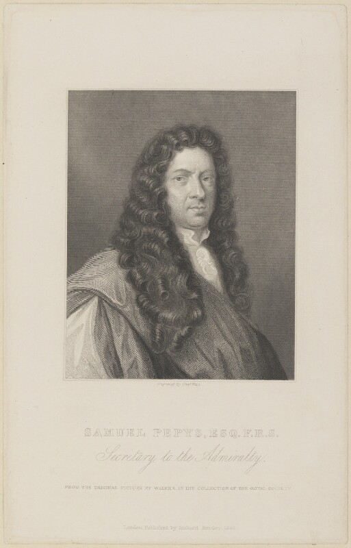 Samuel Pepys, by Charles Wentworth Wass, published by  Richard Bentley, after  Robert Walker, published 1840 - NPG D13885 - © National Portrait Gallery, London