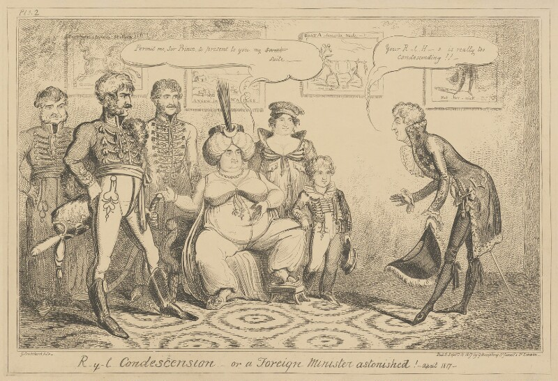 R-y-l Condescension - or a Foreign Minister astonished! - April 1817, by George Cruikshank, published by  George Humphrey, published 15 September 1817 - NPG D17897 - © National Portrait Gallery, London