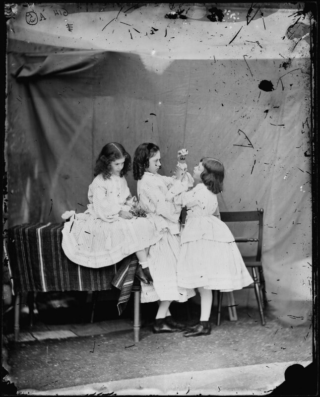 'Open your mouth, and shut your eyes' (Edith Mary Liddell; Ina Liddell; Alice Liddell), by Lewis Carroll (Charles Lutwidge Dodgson), July 1860 - NPG P991(9) - © National Portrait Gallery, London and the National Media Museum (part of the Science Museum Group, London)
