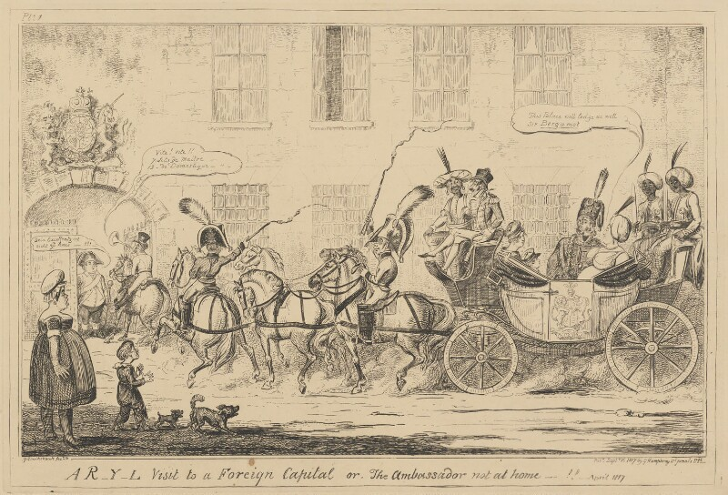 A R-Y-L Visit to a Foreign Capital or, The Ambassador not at home - !! - April 1817, by George Cruikshank, published by  George Humphrey, published 15 September 1817 - NPG D17899 - © National Portrait Gallery, London