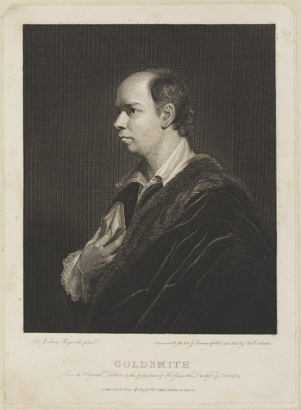Oliver Goldsmith, by John Summerfield, by  Robert Newton, published by  William Cribb, after  Sir Joshua Reynolds, published 4 June 1817 (1770) - NPG D13949 - © National Portrait Gallery, London