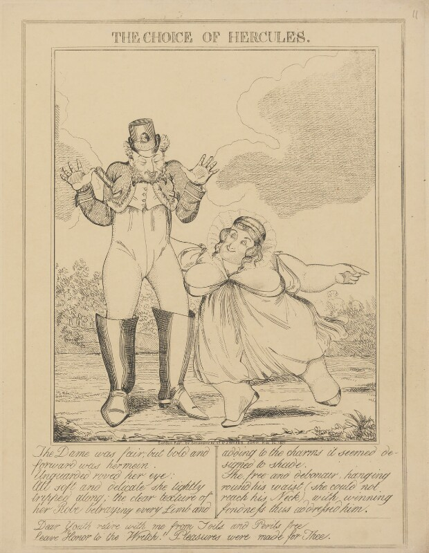 The Choice of Hercules (Bartolomeo Pergami; Caroline Amelia Elizabeth of Brunswick), attributed to Theodore Lane, published by  George Humphrey, published 24 May 1821 - NPG D17906b - © National Portrait Gallery, London