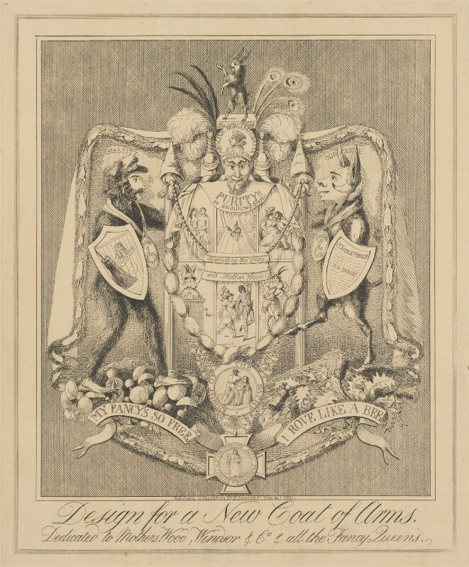 Design for a New Coat of Arms.  Dedicated to Mothers Wood, Windsor & Co. & all the Fancy Queens., attributed to Theodore Lane, published by  George Humphrey, published 1 May 1821 - NPG D17907a - © National Portrait Gallery, London