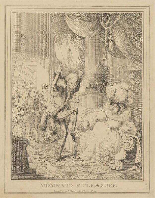 Moments of Pleasure (Lady Anne Hamilton; Sir Matthew Wood, 1st Bt; Caroline Amelia Elizabeth of Brunswick), attributed to Theodore Lane, published by  George Humphrey, published 1820 - NPG D17917b - © National Portrait Gallery, London