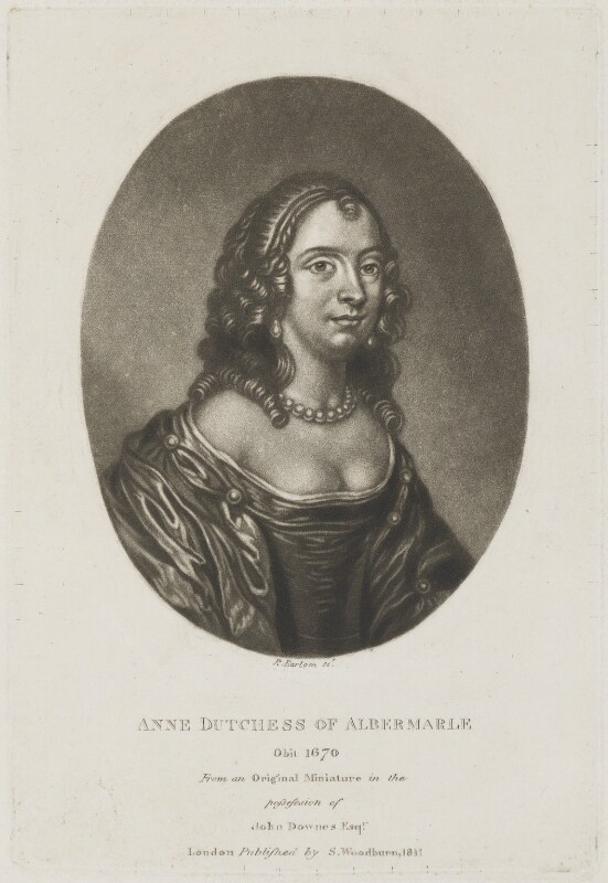 Anne Monck (née Clarges), Duchess of Albemarle, by Richard Earlom, published by  Samuel Woodburn, after  Unknown miniaturist, published 1811 - NPG D14038 - © National Portrait Gallery, London
