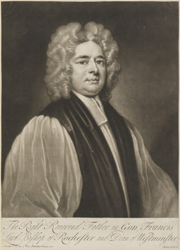 Francis Atterbury, by John Simon, after  Sir Godfrey Kneller, Bt, (1718) - NPG D14072 - © National Portrait Gallery, London