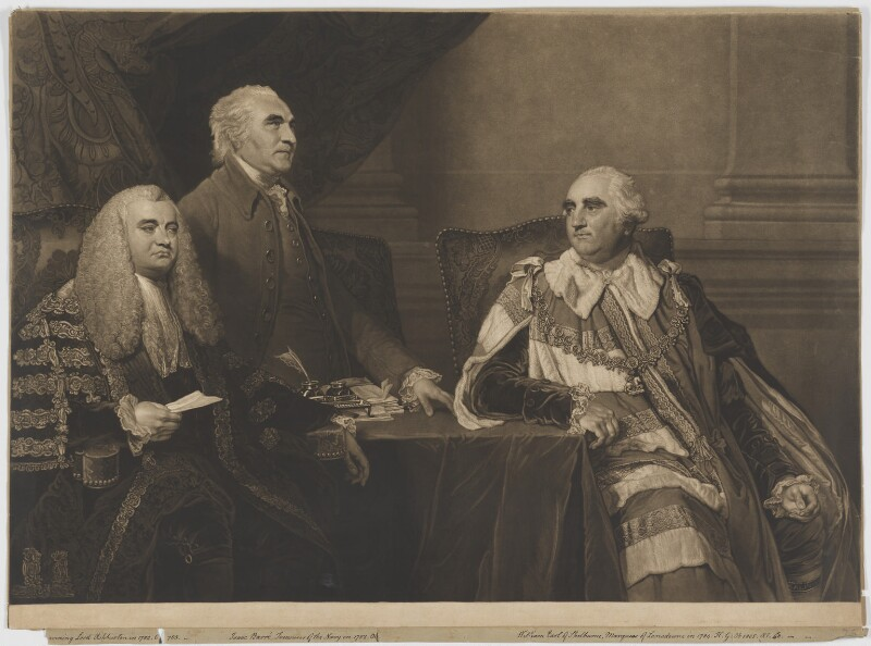 John Dunning, 1st Baron Ashburton; Isaac Barré; William Petty, 1st Marquess of Lansdowne (Lord Shelburne), by James Ward, after  Sir Joshua Reynolds, 1807 (1787-1788) - NPG D7391 - © National Portrait Gallery, London