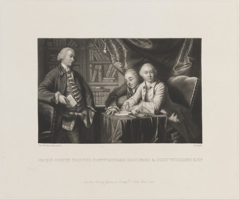 George Augustus Selwyn; Richard Edgcumbe, 2nd Baron Edgcumbe; George James Williams, by James Scott, published by  Henry Graves, after  Sir Joshua Reynolds, published 1865 (1759-1761) - NPG D14109 - © National Portrait Gallery, London