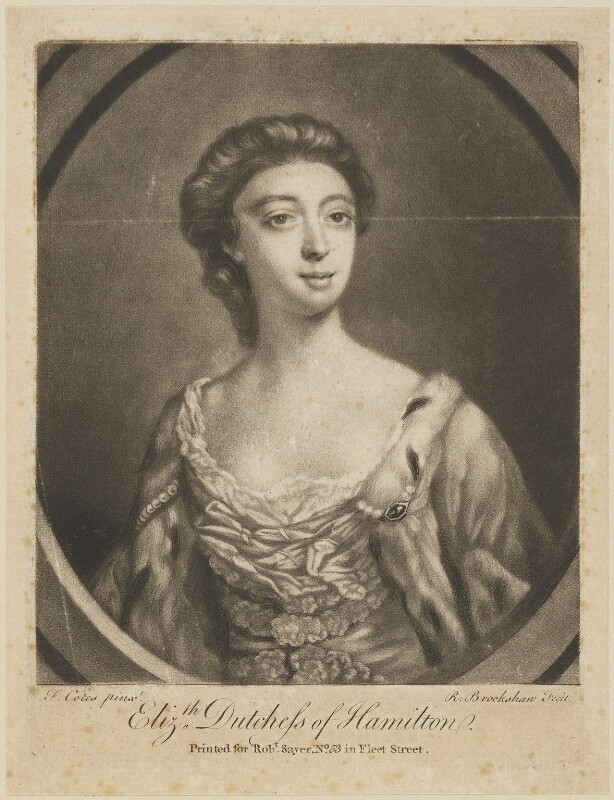 Elizabeth (née Gunning), Baroness Hamilton of Hameldon, by Richard Brookshaw, published by  Robert Sayer, after  Francis Cotes, (1751) - NPG D14151 - © National Portrait Gallery, London