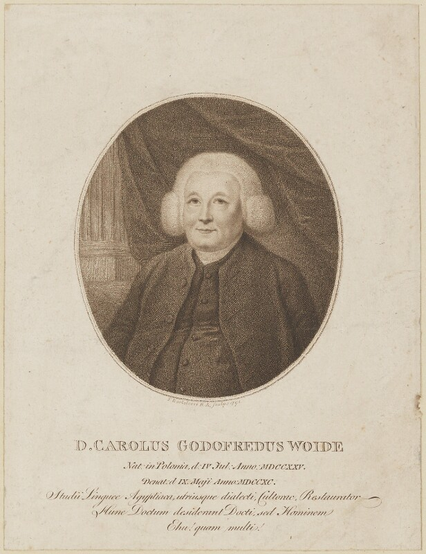 Charles Godfrey Woide, by Francesco Bartolozzi, published 1791 - NPG D14155 - © National Portrait Gallery, London