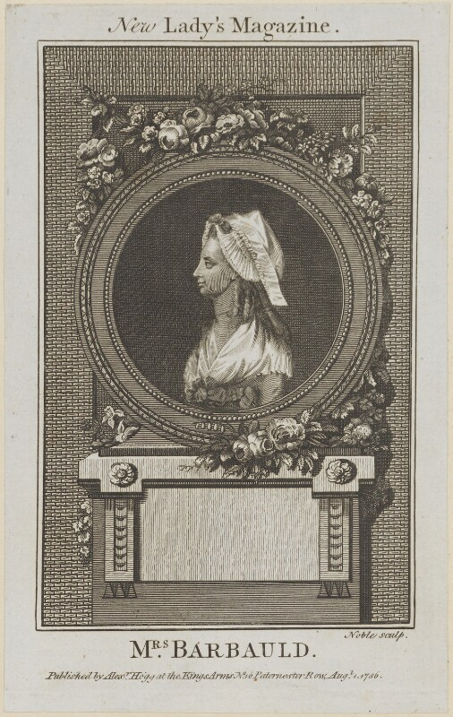 Anna Letitia Barbauld (née Aikin), probably by George Noble, published by  Alexander Hogg, published 1 August 1786 - NPG D14209 - © National Portrait Gallery, London