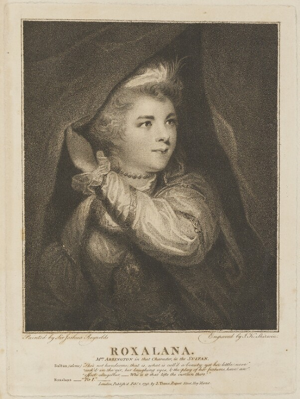 Frances Abington (née Barton) as Roxalana, by John Keyse Sherwin, published by  John Thane, after  Sir Joshua Reynolds, published 1 February 1791 (1782-1783) - NPG D14220 - © National Portrait Gallery, London