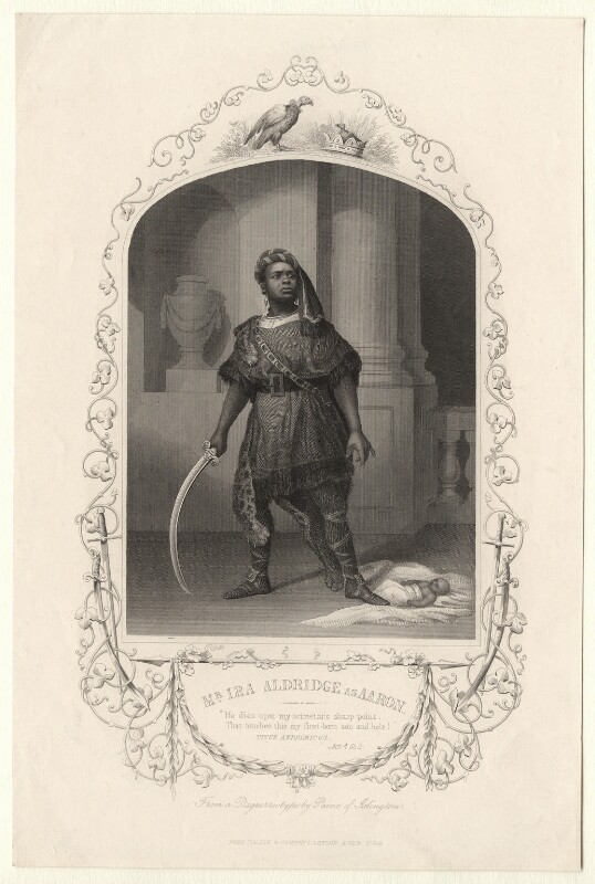 Ira Frederick Aldridge as Aaron in 'Titus Andronicus', published by John Tallis & Company, after  William Paine, published circa 1850 - NPG D17967 - © National Portrait Gallery, London