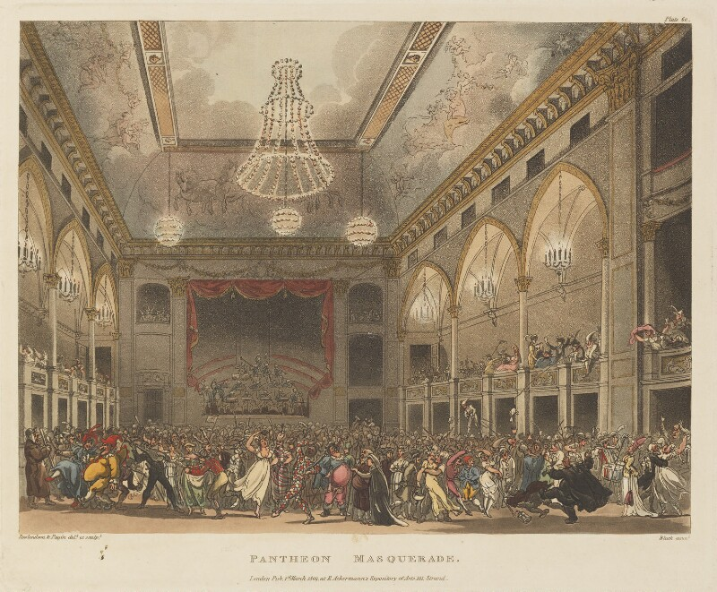 'Pantheon masquerade', by Thomas Rowlandson, and by  Auguste Charles Pugin, aquatinted by  John Bluck, published by  Rudolph Ackermann, published 1 March 1809 - NPG D14263 - © National Portrait Gallery, London