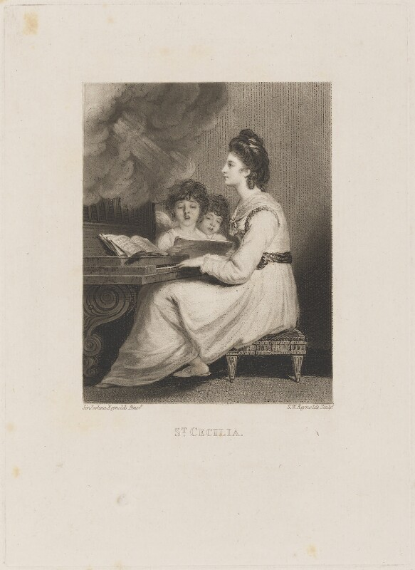 Elizabeth Ann Sheridan (née Linley) as St Cecilia, by Samuel William Reynolds, after  Sir Joshua Reynolds, early 19th century (1775) - NPG D14271 - © National Portrait Gallery, London