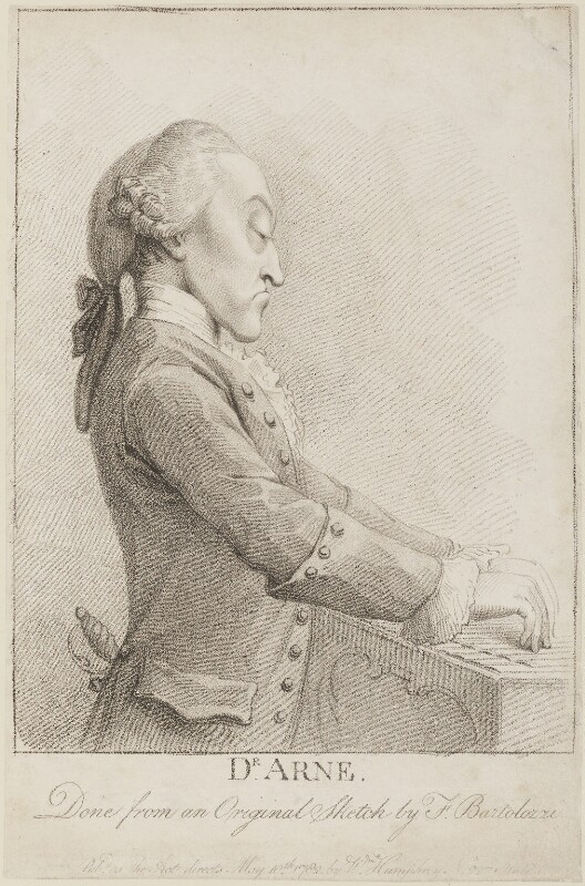 Thomas Augustine Arne, published by William Humphrey, after  Francesco Bartolozzi, published 10 May 1782 - NPG D14285 - © National Portrait Gallery, London