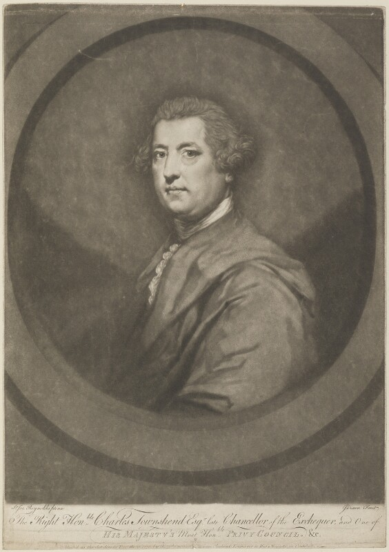 Charles Townshend, by John Dixon, published by  William Wynne Ryland, after  Sir Joshua Reynolds, published 21 December 1770 (1765-1767) - NPG D14297 - © National Portrait Gallery, London