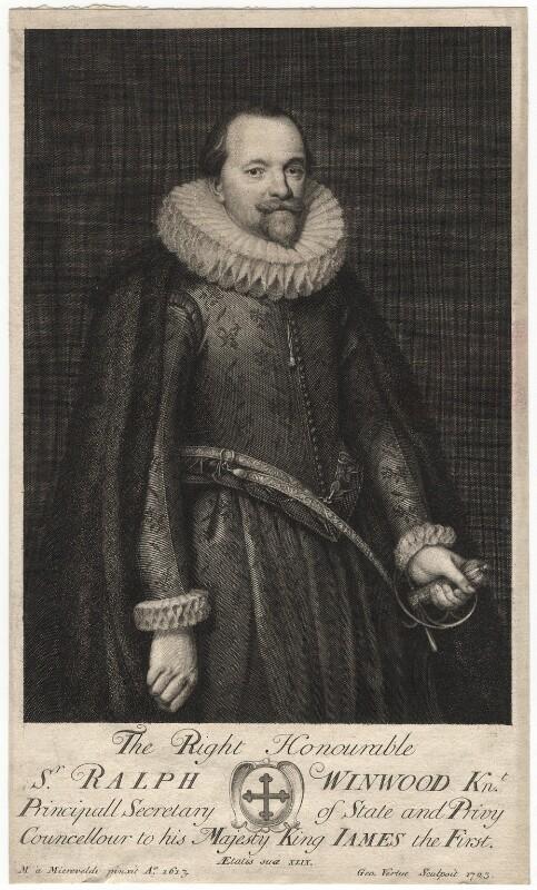 Sir Ralph Winwood, by George Vertue, after  Michiel Jansz. van Miereveldt, 1723 (1613) - NPG D17977 - © National Portrait Gallery, London