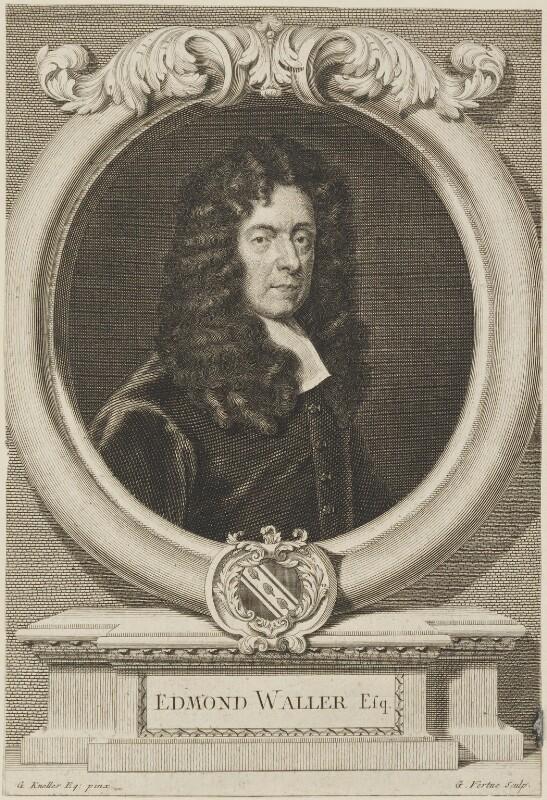 Edmund Waller, by George Vertue, after  Sir Godfrey Kneller, Bt, circa 1727 (1684) - NPG D14319 - © National Portrait Gallery, London