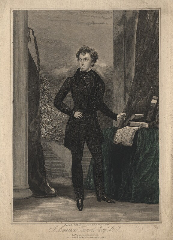 Sir James Emerson Tennent, 1st Bt, by E.K. Proctor, probably after  Joseph Kenny Meadows, circa 1830s - NPG D17982 - © National Portrait Gallery, London