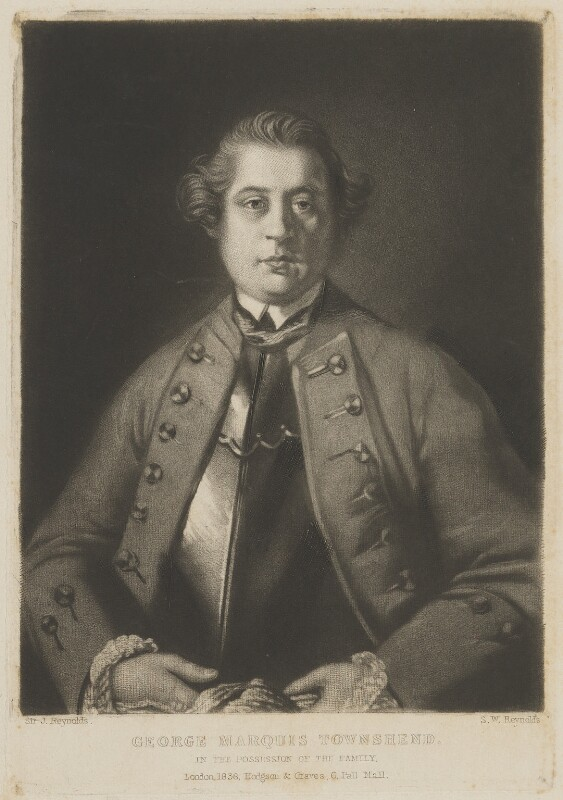 George Townshend, 4th Viscount and 1st Marquess Townshend, by Samuel William Reynolds, published by  Hodgson & Graves, after  Sir Joshua Reynolds, published 1838 (1759-1761) - NPG D14345 - © National Portrait Gallery, London