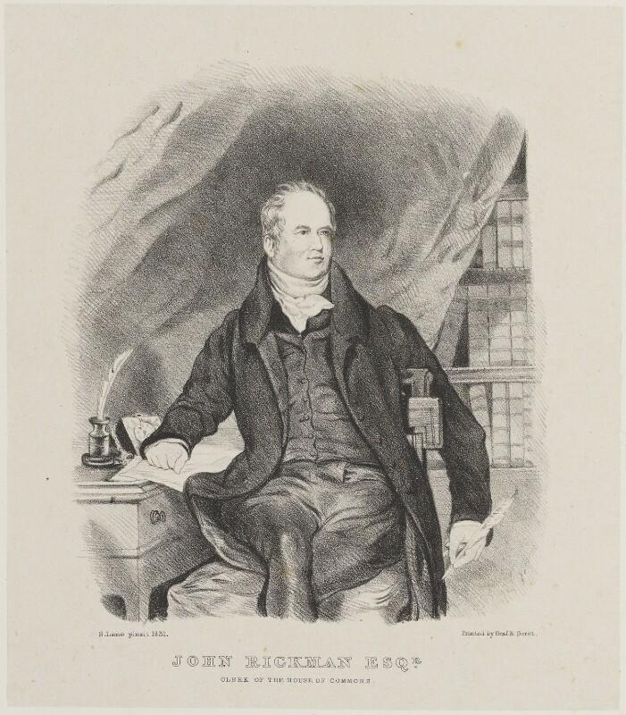 John Rickman, by Miss Turner, printed by  Graf & Soret, after  Samuel Lane, (1831) - NPG D14356 - © National Portrait Gallery, London
