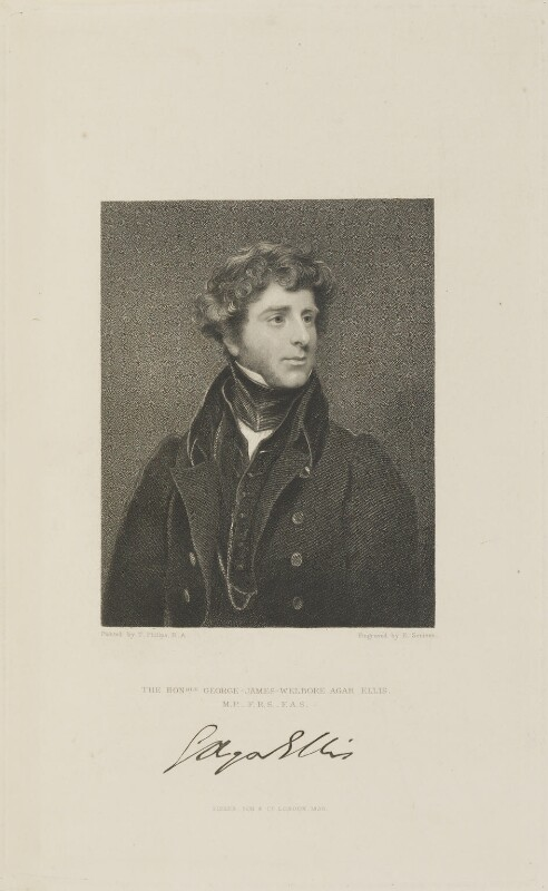George Agar-Ellis, 1st Baron Dover, by Edward Scriven, published by  Fisher Son & Co, after  Thomas Phillips, published 1830 - NPG D14360 - © National Portrait Gallery, London