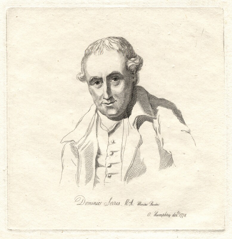Dominic Serres, by Mary Dawson Turner (née Palgrave), after  Ozias Humphry, (1778) - NPG D18000 - © National Portrait Gallery, London
