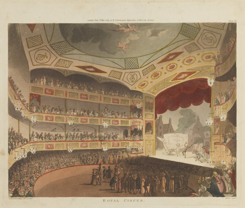 'Royal Circus', by Thomas Rowlandson, and by  Auguste Charles Pugin, aquatinted by  John Bluck, published by  Rudolph Ackermann, published 1 May 1809 - NPG D14433 - © National Portrait Gallery, London