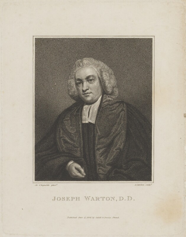 Joseph Warton, by Anthony Cardon, published by  T. Cadell & W. Davies, after  Sir Joshua Reynolds, published 4 June 1806 (1777) - NPG D14440 - © National Portrait Gallery, London