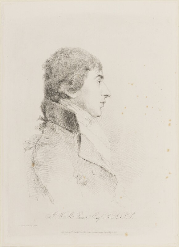 J.M.W. Turner, by William Daniell, published by  William Smith, after  George Dance, published 10 May 1827 (31 March 1800) - NPG D14457 - © National Portrait Gallery, London