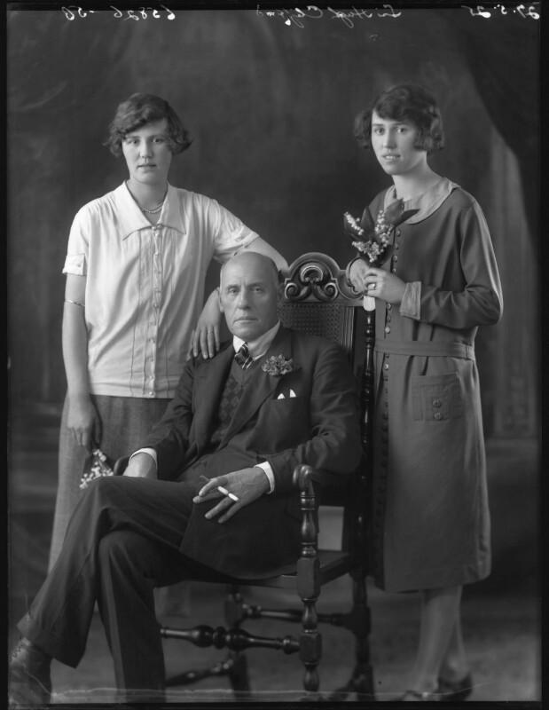 Mary Agnes Philippa Holmes (née Clifford); Sir Hugh Charles Clifford; Monica Elizabeth Mary Trafford (née Clifford), by Bassano Ltd, 27 May 1925 - NPG x74730 - © National Portrait Gallery, London