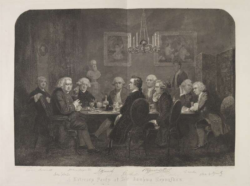 'A literary party at Sir Joshua Reynolds's', by D. George Thompson, published by  Owen Bailey, after  James William Edmund Doyle, published 1 October 1851 - NPG D14518 - © National Portrait Gallery, London