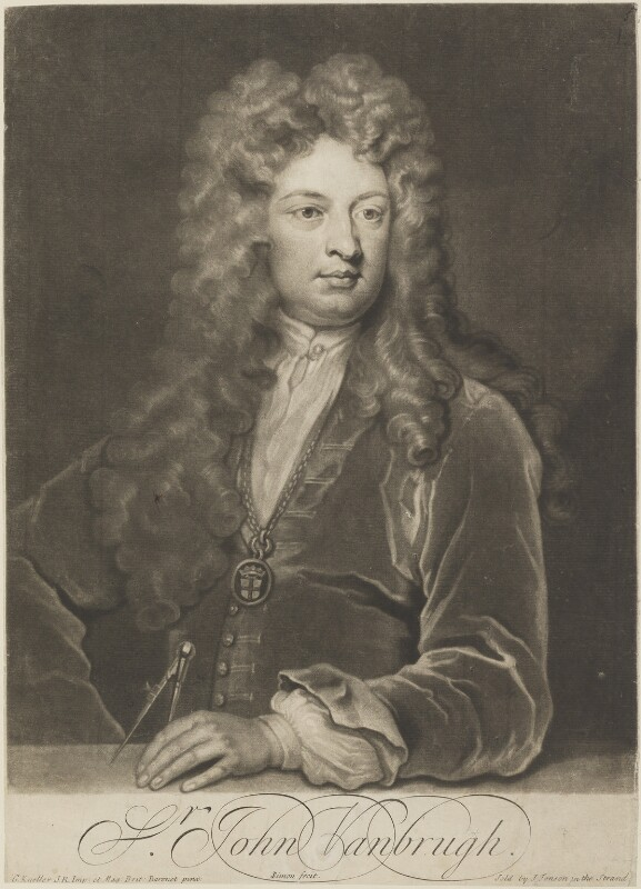 Sir John Vanbrugh, by John Simon, published by  Jacob Tonson I, or  Jacob Tonson II, after  Sir Godfrey Kneller, Bt, (circa 1704-1710) - NPG D14566 - © National Portrait Gallery, London