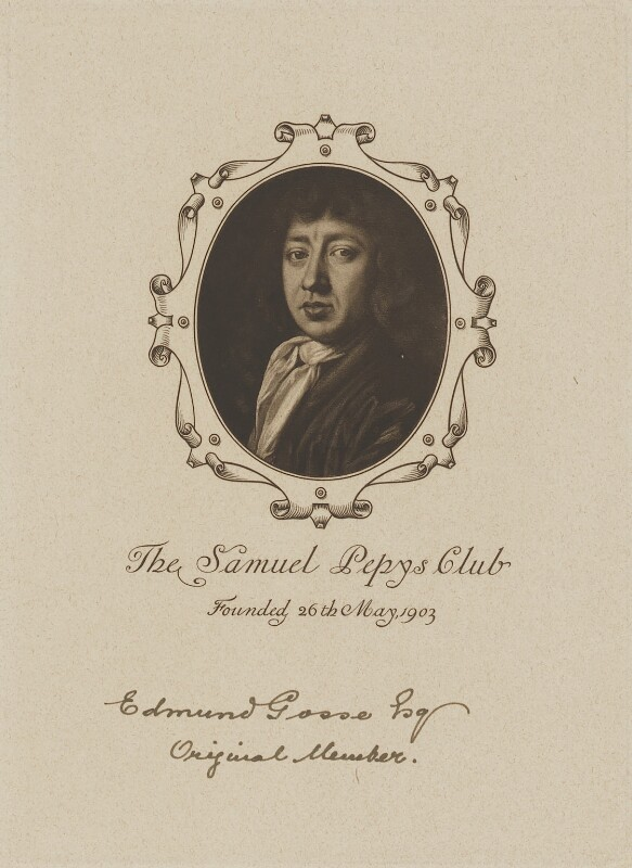 Diploma of membership of the Samuel Pepys Club for Sir Edmund Gosse, after John Hayls, 1905 (1666) - NPG D18073 - © National Portrait Gallery, London
