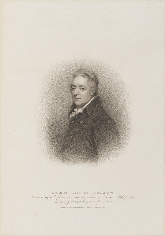 George O'Brien Wyndham, 3rd Earl of Egremont, by John Samuel Agar, published by  T. Cadell & W. Davies, after  John Wright, after  Thomas Phillips, published 16 April 1810 - NPG D14676 - © National Portrait Gallery, London