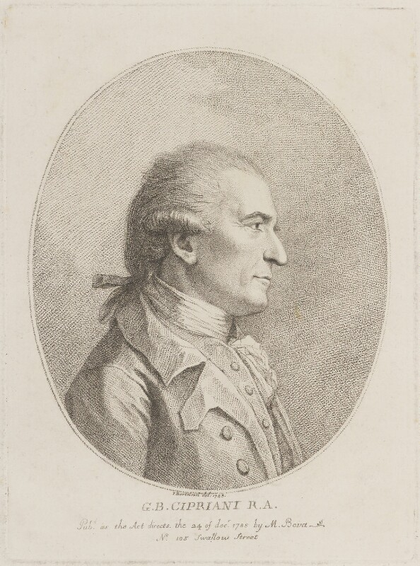 Giovanni Battista Cipriani, by Francesco Bartolozzi, published by and after  Marino or Mariano Bovi (Bova), published 24 December 1785 - NPG D14699 - © National Portrait Gallery, London