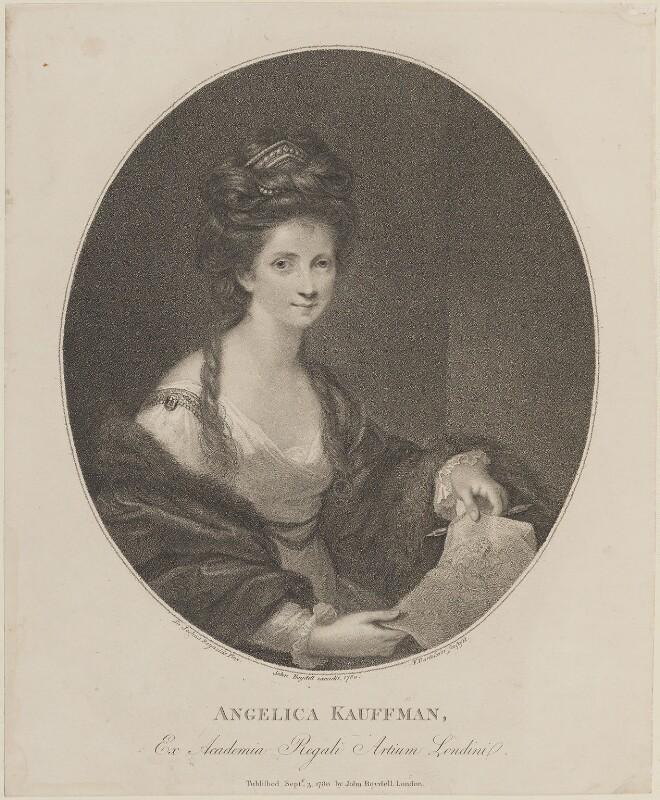 Angelica Kauffmann, by Francesco Bartolozzi, published by  John Boydell, after  Sir Joshua Reynolds, published 3 September 1780 (circa 1777-1778) - NPG D14701 - © National Portrait Gallery, London