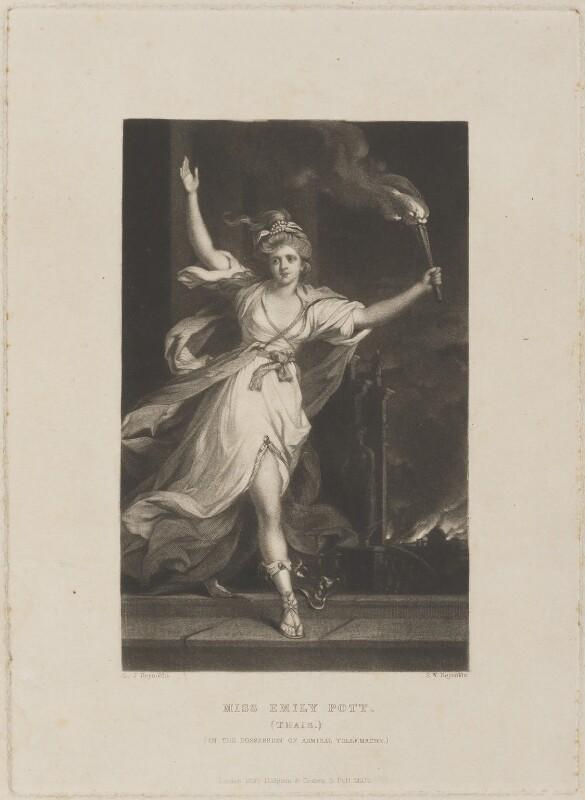 Emily Warren ('Emily Pott') ('Thaïs'), by Samuel William Reynolds, published by  Hodgson & Graves, after  Sir Joshua Reynolds, published 1837 (circa 1781) - NPG D14709 - © National Portrait Gallery, London